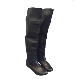 Dolce Vita over the knee black leather boots
